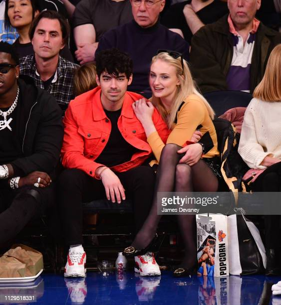 Joe Jonas and Sophie Turner attend Sacramento Kings v New York Knicks game at Madison Square Garden on March 9 2019 in New York City