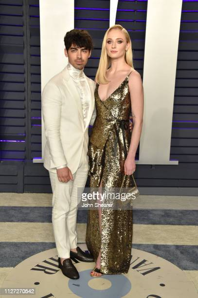 Joe Jonas and Sophie Turner attend the 2019 Vanity Fair Oscar Party hosted by Radhika Jones at Wallis Annenberg Center for the Performing Arts on...