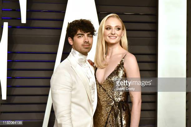 Joe Jonas and Sophie Turner attend the 2019 Vanity Fair Oscar Party at Wallis Annenberg Center for the Performing Arts on February 24, 2019 in...