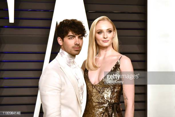 Joe Jonas and Sophie Turner attend the 2019 Vanity Fair Oscar Party at Wallis Annenberg Center for the Performing Arts on February 24 2019 in Beverly...