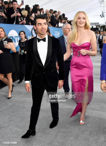 Joe Jonas and Sophie Turner attend the 26th Annual Screen Actors Guild Awards at The Shrine Auditorium on January 19 2020 in Los Angeles California
