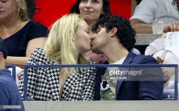 Joe Jonas and Sophie Turner attend the defeats of Maria Sharapova and Roger Federer on day 8 of the 2018 tennis US Open on Arthur Ashe stadium at the...