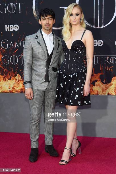 Joe Jonas and Sophie Turner attend the Game Of Thrones Season 8 Premiere on April 03 2019 in New York City
