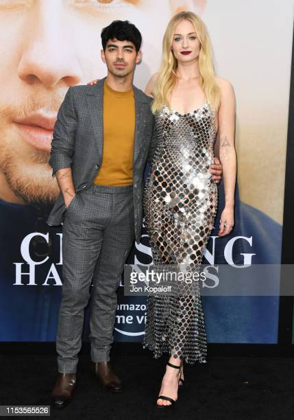 Joe Jonas and Sophie Turner attend the Premiere Of Amazon Prime Video's Chasing Happiness at Regency Bruin Theatre on June 03 2019 in Los Angeles...