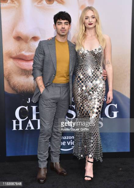 "Joe Jonas and Sophie Turner attend the premiere of Amazon Prime Video's ""Chasing Happiness"" at Regency Bruin Theatre on June 03, 2019 in Los Angeles,..."