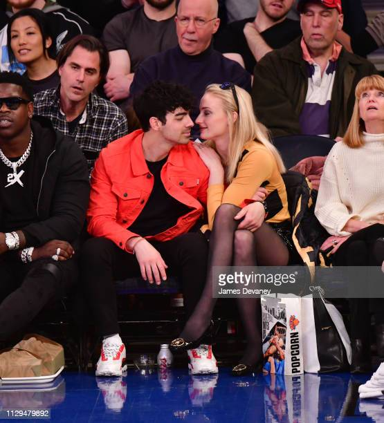 Joe Jonas and Sophie Turner attend the Sacramento Kings v New York Knicks game at Madison Square Garden on March 9 2019 in New York City