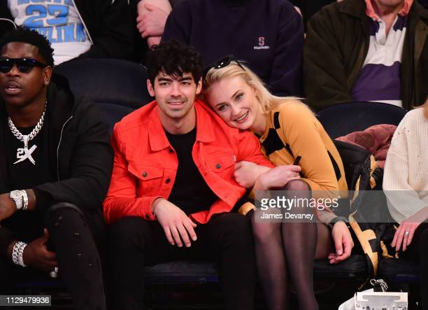 Joe Jonas and Sophie Turner attend the Sacramento Kings v New York Knicks game at Madison Square Garden on March 9, 2019 in New York City.