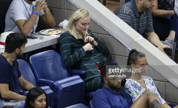 Joe Jonas and Sophie Turner attend the Serena and Venus Williams' third round match on day 5 of the 2018 tennis US Open on Arthur Ashe stadium at the...