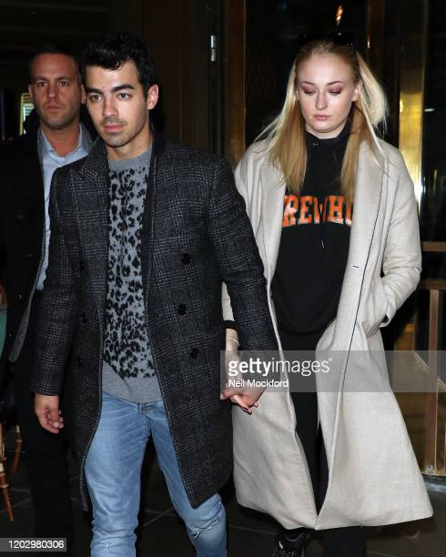 Joe Jonas and Sophie Turner seen having lunch at The Ivy Soho on January 30, 2020 in London, England.