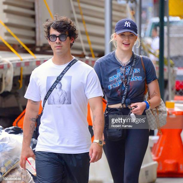 Joe Jonas and Sophie Turner seen out walking in Manhattan on July 24 2018 in New York City