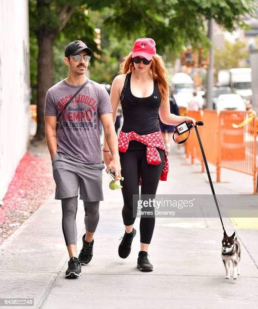 Joe Jonas and Sophie Turner walk their dog on September 7 2017 in New York City