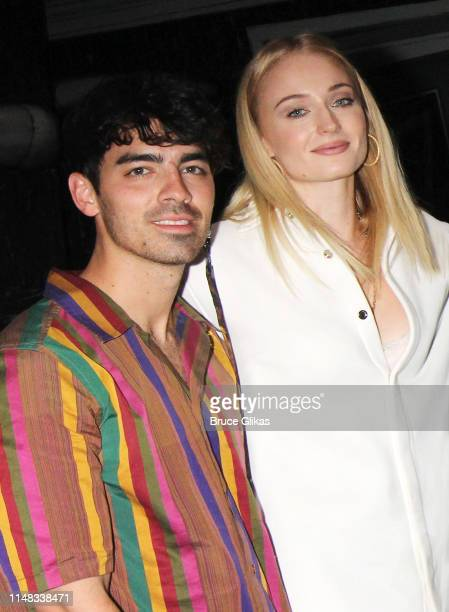 Joe Jonas and wife Sophie Turner pose backstage at the musical based on the film Beetlejuiceon Broadway at The Winter Garden Theatre on May 10 2019...