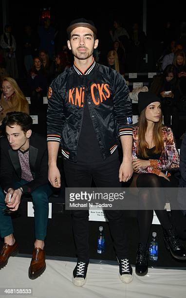Joe Jonas attends the Custo Barcelona show during MercedesBenz Fashion Week Fall 2014 at The Salon at Lincoln Center on February 9 2014 in the...