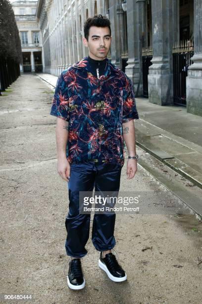 Joe Jonas attends the Louis Vuitton Menswear Fall/Winter 20182019 show as part of Paris Fashion Week on January 18 2018 in Paris France