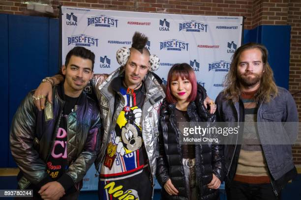Joe Jonas Cory Whittle JinJoo Lee and Jack Lawless during Base*FEST Powered by USAA on December 15 2017 at Naval Air Station Pensacola Florida