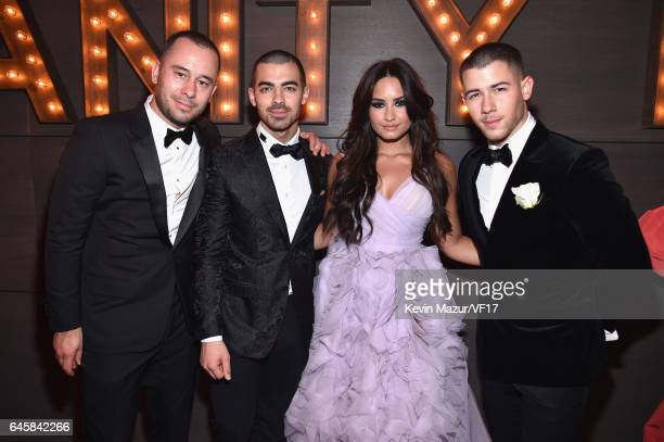 Joe Jonas Demi Lovato and Nick Jonas attend the 2017 Vanity Fair Oscar Party hosted by Graydon Carter at Wallis Annenberg Center for the Performing...