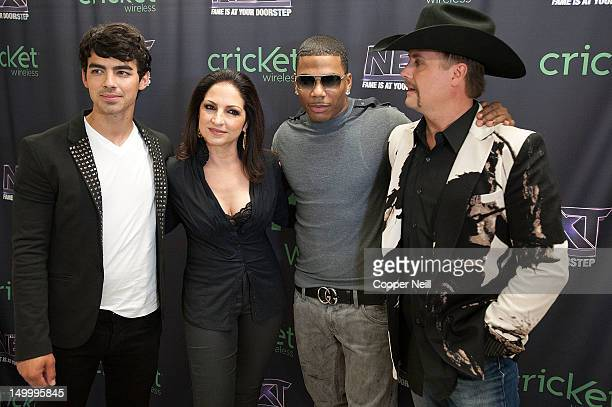 Joe Jonas Gloria Estefan Nelly and John Rich pose for a portrait before a live taping of CW's 'The Next' on August 7 2012 in Dallas Texas