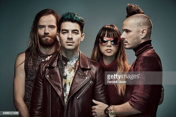 Joe Jonas Jack Lawless Cole Whittle and JinJoo Lee of the band DNCE pose for a portrait at the 2015 American Music Awards on November 22 2015 in Los...