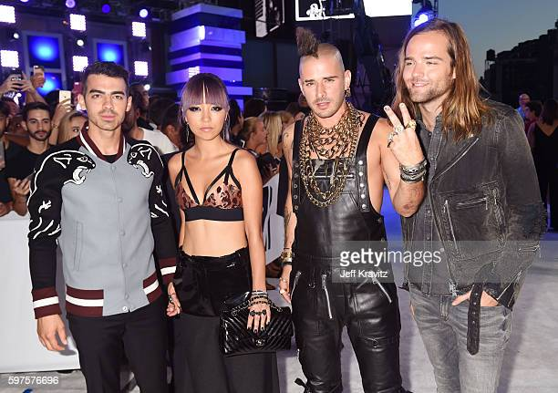 Joe Jonas JinJoo Lee Cole Whittle and Jack Lawless of DNCE attend the 2016 MTV Video Music Awards at Madison Square Garden on August 28 2016 in New...