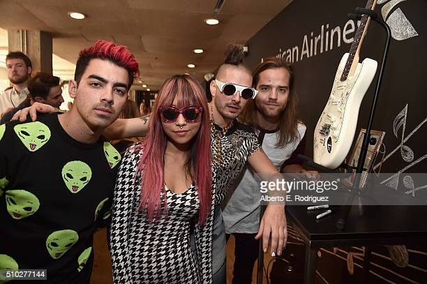 Joe Jonas JinJoo Lee Cole Whittle and Jack Lawless of the music group DNCE attend Lucian Grainge's 2016 Artist Showcase Presented by American...