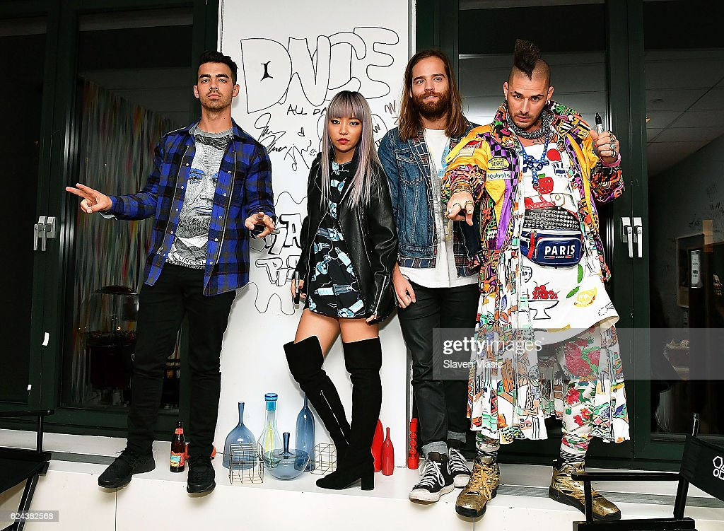 Joe Jonas, JinJoo Lee, Jack Lawless and Cole Whittle of 'DNCE' visit AOL BUILD at AOL HQ on November 18, 2016 in New York City.
