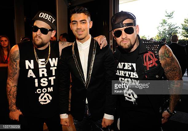 Joe Jonas Joel Madden and Benji Madden arrive at the The 28th Annual MTV Video Music Awards at Nokia Theatre L.A. LIVE on August 28, 2011 in Los...