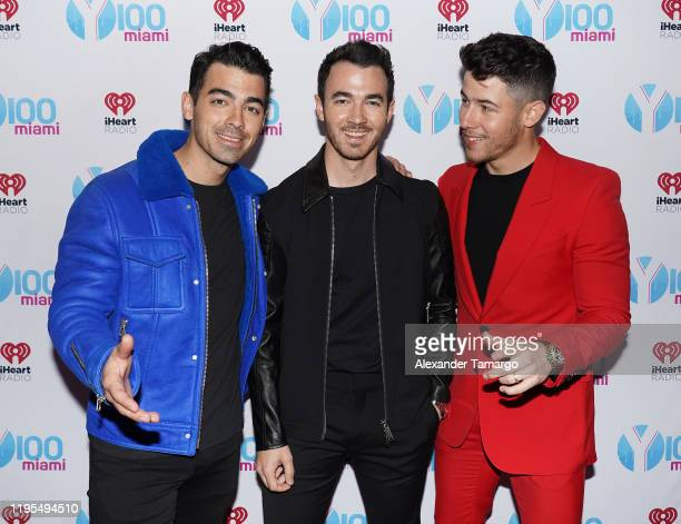Joe Jonas, Kevin Jonas and Nick Jonas of The Jonas Brothers attend Y100's Jingle Ball 2019 Presented by Capital One at BB&T Center on December 22,...