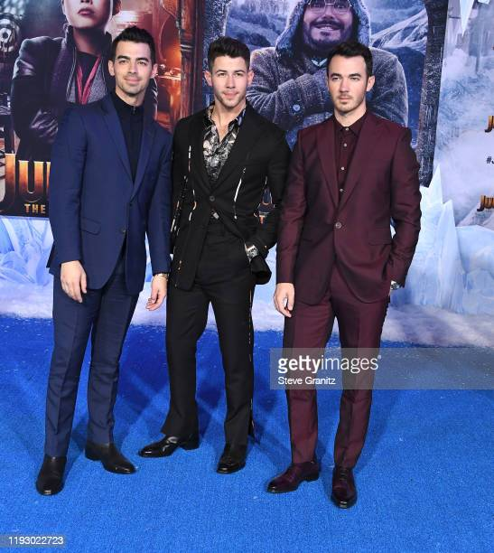 """Joe Jonas, Nick Jonas and Kevin Jonas arrives at the Premiere Of Sony Pictures' """"Jumanji: The Next Level"""" on December 09, 2019 in Hollywood,..."""