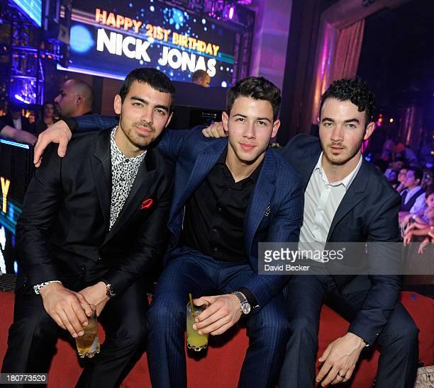 Joe Jonas Nick Jonas and Kevin Jonas celebrate Nick Jonas's 21st birthday at XS The Nightclub at Encore Las Vegas on September 16 2013 in Las Vegas...