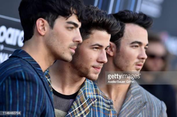 Joe Jonas Nick Jonas and Kevin Jonas of Jonas Brothers attend the 2019 Billboard Music Awards at MGM Grand Garden Arena on May 01 2019 in Las Vegas...