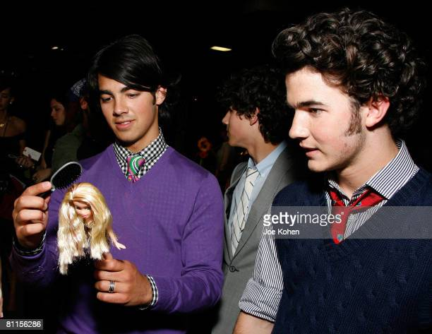 Joe Jonas Nick Jonas and Kevin Jonas of Jonas Brothers pose at the Z100 Zootopia 2008 IZOD Fragrance Gift Lounge produced by On 3 Productions at the...