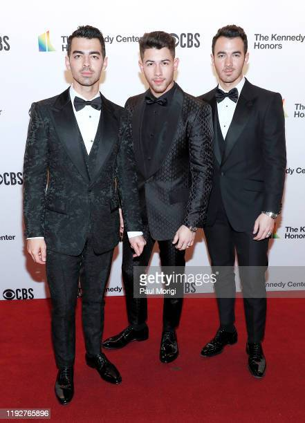Joe Jonas Nick Jonas and Kevin Jonas of The Jonas Brothers attend the 42nd Annual Kennedy Center Honors Kennedy Center on December 08 2019 in...