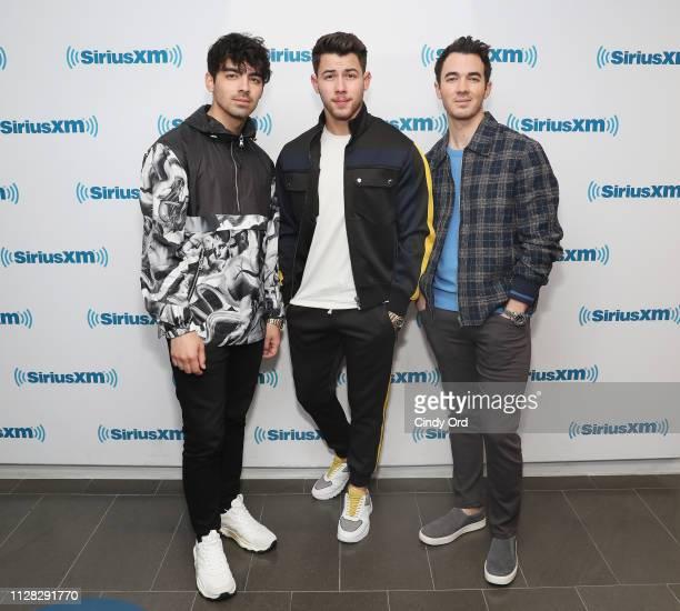Joe Jonas Nick Jonas and Kevin Jonas of The Jonas Brothers visit the SiriusXM studios on March 1 2019 in New York City