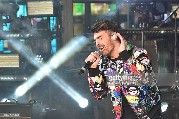 Joe Jonas of DNCE performs during the New Year's Eve Countdown at Times Square on December 31 2016 in New York City
