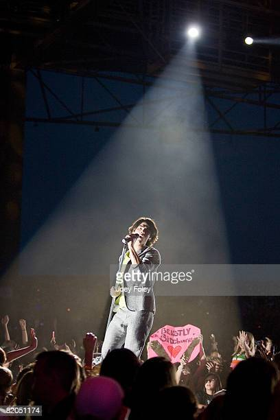 Joe Jonas of the Jonas Brothers performs live in concert at the Verizon Wireless Music Center on July 23 2008 in Noblesville Indiana