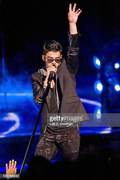 """Joe Jonas performs during the """"Jonas Brothers Live In Concert"""" tour opener at the First Midwest Bank Amphitheatre on August 7, 2010 in Tinley Park,..."""