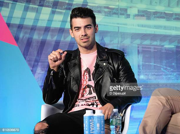 Joe Jonas speaks on stage during the Is Automation the New Curation panel at the Liberty Theater during 2016 Advertising Week New York on September...