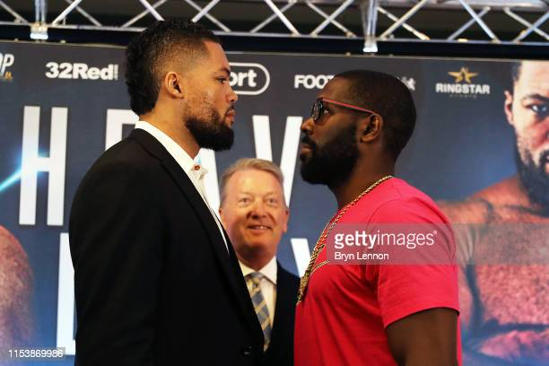 Joe Joyce and Bryant Jennings go head to head at a press conference on June 05 2019 in London England