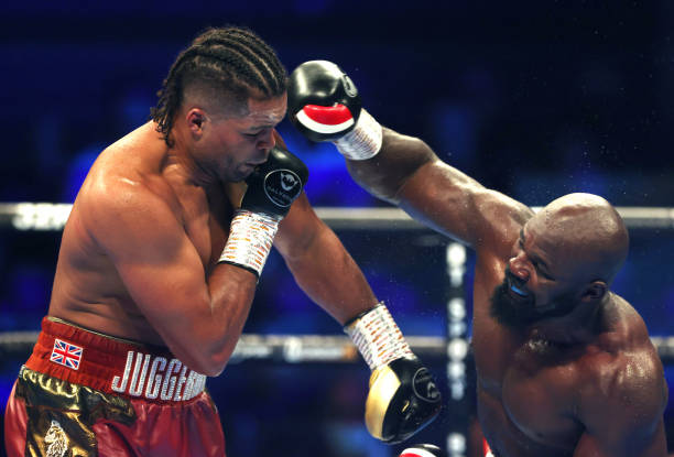 Joe Joyce and Carlos Takam during the WBO International, WBC Silver and Commonwealth Heavyweight Title Championships at the SSE Arena, London....