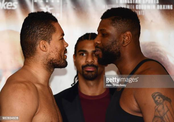 Joe Joyce and Donnie Palmer attend the Hayemaker Ringstar Weigh In at The Park Plaza Victoria on March 16 2018 in London England The Double Header...