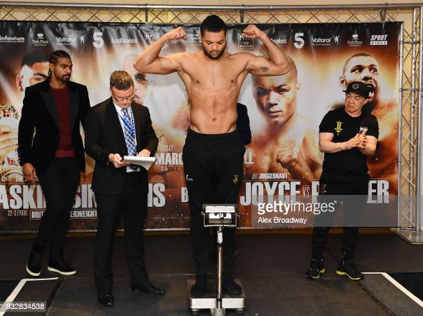 Joe Joyce attends the Hayemaker Ringstar Weigh In at The Park Plaza Victoria on March 16 2018 in London England The Double Header Fight Night...