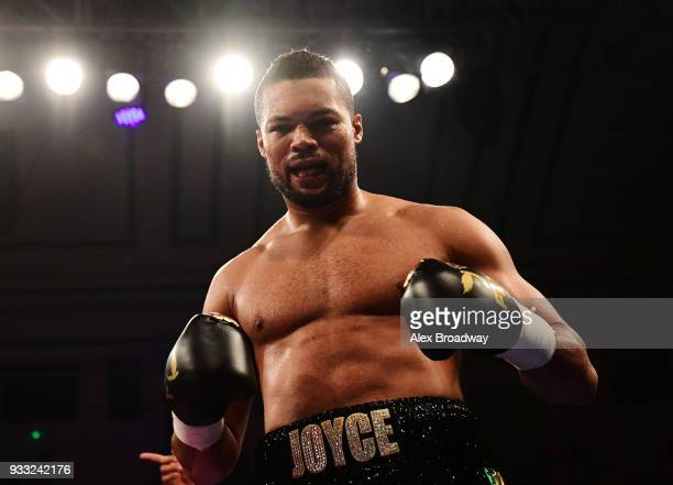Joe Joyce celebrates after beating Donnie Palmer during their Heavyweight fight at York Hall on March 17 2018 in London England