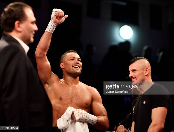 Joe Joyce celebrates beating Rudolf Jozic in the first round of there Heavyweight contest during the Hayemaker Ringstar Boxing at York Hall on...