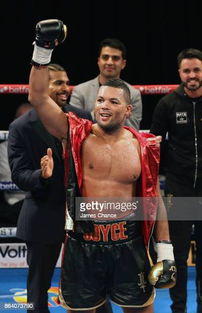 Joe Joyce celebrates victory after the Heavyweight fight between Joe Joyce and Ian Lewison at The O2 Arena on October 20 2017 in London England