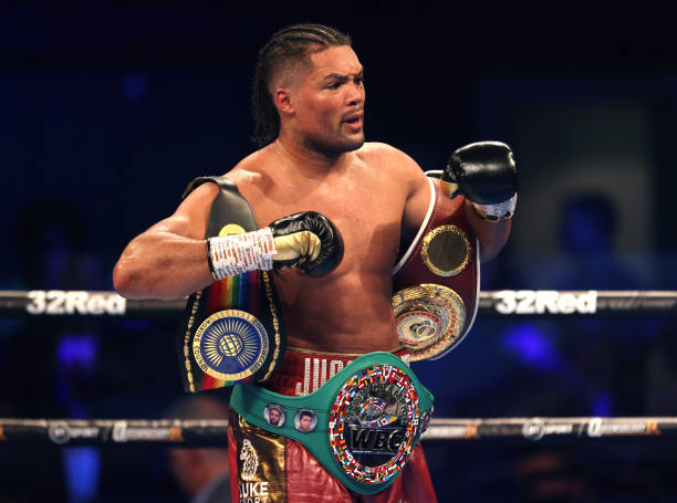 Joe Joyce celebrates victory against Carlos Takam after the WBO International, WBC Silver and Commonwealth Heavyweight Title Championships at the SSE...