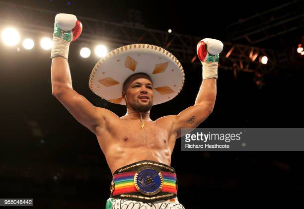 Joe Joyce celebrates victory during the Commonwealth Heavyweight Title fight between Lenroy Thomas and Joe Joyce at The O2 Arena on May 5 2018 in...