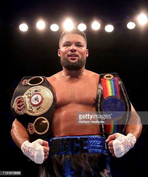 Joe Joyce celebrates victory over Bermane Stiverne after the Commonwealth Heavyweight Title fight between Joe Joyce and Bermane Stiverne at The O2...