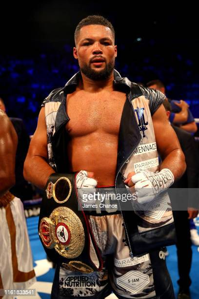 Joe Joyce celebrates victory over Bryant Jennings after the Heavyweight fight between Joe Joyce and Bryant Jennings at The O2 Arena on July 13 2019...