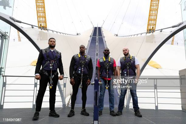 Joe Joyce Daniel Dubois Bryant Jennings and Nathan Gorman pose for a photo before climbing to the top of the O2 during a press conference on June 05...