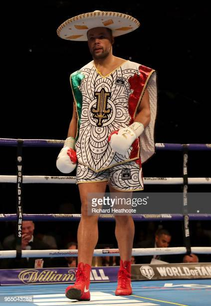 Joe Joyce enters the ring prior to the Commonwealth Heavyweight Title fight between Lenroy Thomas and Joe Joyce at The O2 Arena on May 5 2018 in...